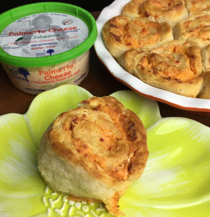 The PC Pinwheels are easy and fun to make. Just flatten Pillsbury biscuit dough out and cover with Palmetto Cheese. Roll up, slice and bake similar to cinnamon rolls. You can bake separately in a muffin pan or together in a pie pan.