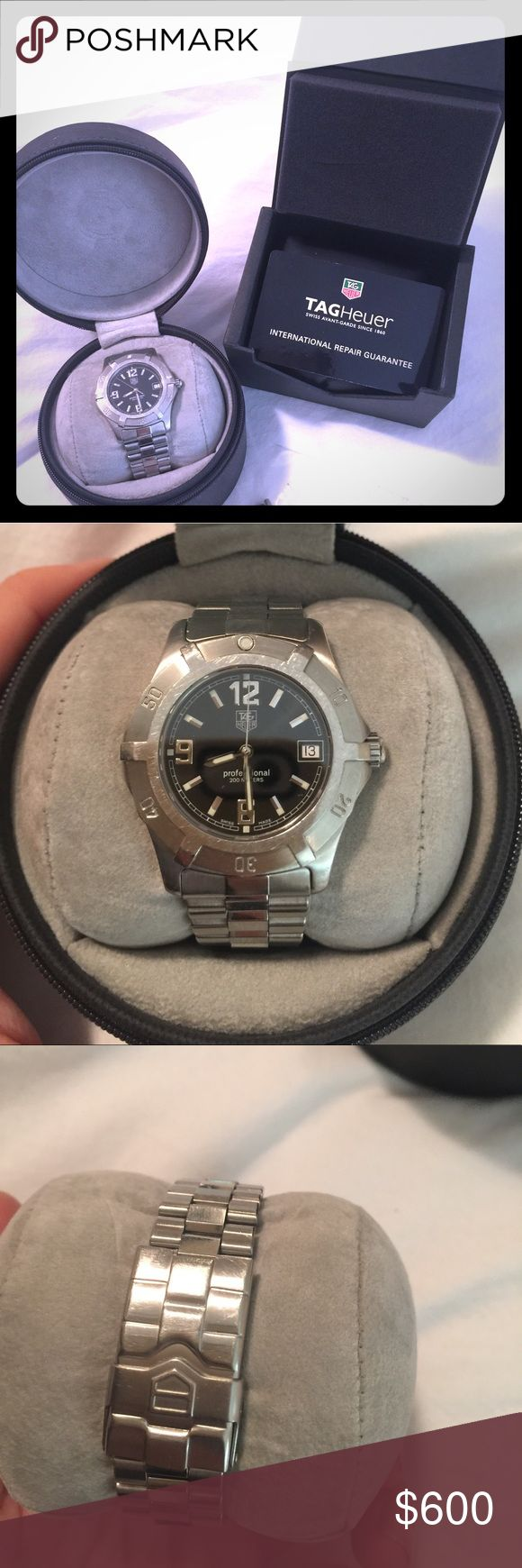 Tag Heuer Professional 200 meter watch Authentic Women's TAG silver watch. Swiss bracelet. Recently serviced by TAG. Will ship in its case and with original box. Also has additional links. Perfect gift! Tag Heuer Accessories Watches