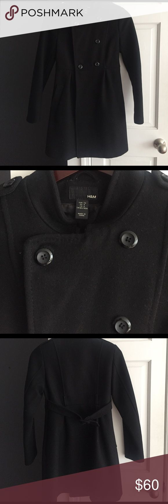 H&M coat. Size 4, black. H&M coat. Size 4. Double breasted. Black. Great condition. 32 inches long. H&M Jackets & Coats