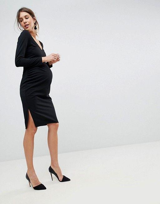 8643d4ed2af35 ASOS Maternity | ASOS MATERNITY Midi V Neck Pencil Dress with Long Sleeves