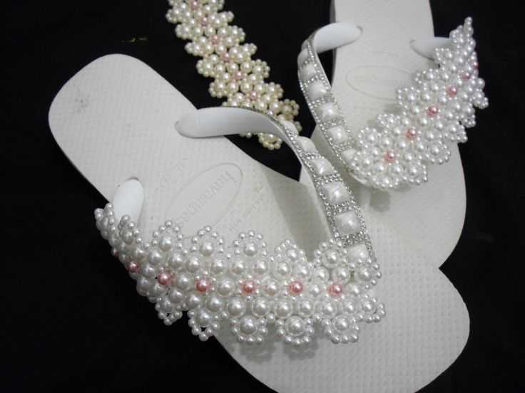 Havaiana decorada trama de renda francesa-  decorated sandals frame pearls
