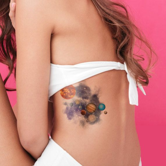 Planet temporary tattoo / hipster temporary tattoo / space temporary tattoo / watercolor temporary tattoo / large tattoo