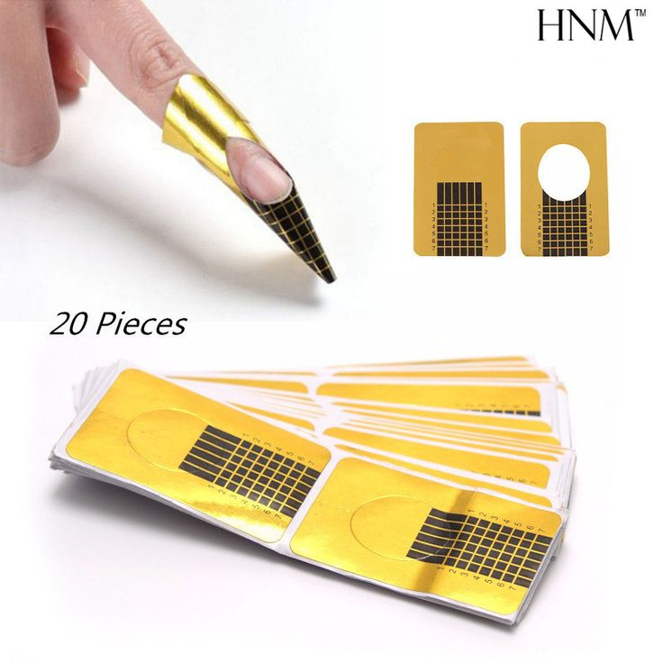 HNM 20pcs Nail Forms Tips Acrylic Gel Extension Sticker Professional Nail Polish Curl Formes Nail Art Guide Form