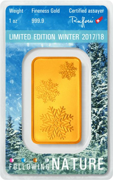 1 Unze Goldbarren Heraeus Following Nature 2017/18 Winter | Goldbarren | GoldSilberShop.de