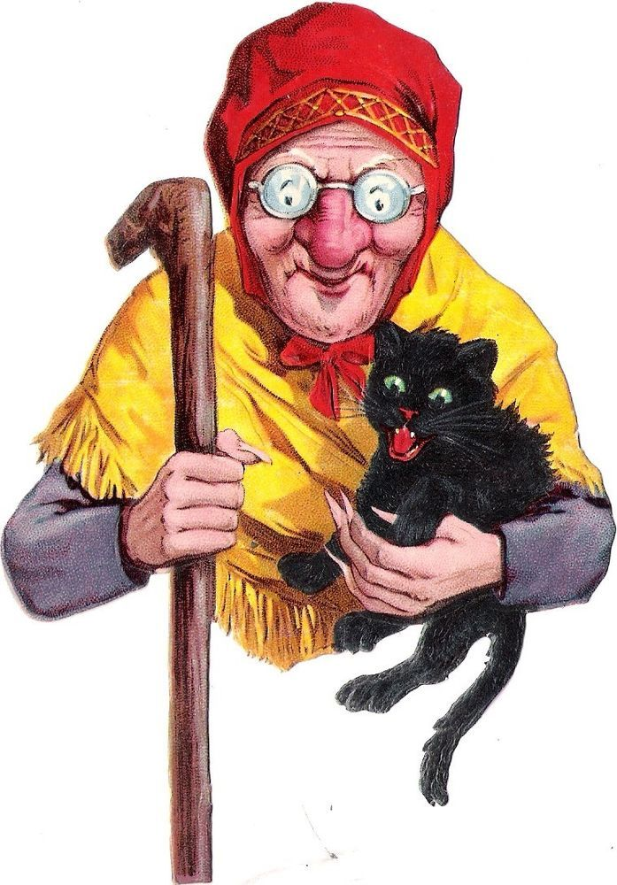Oblaten Glanzbild scrap die cut chromo alte Frau old woman black cat  Hexe Katze