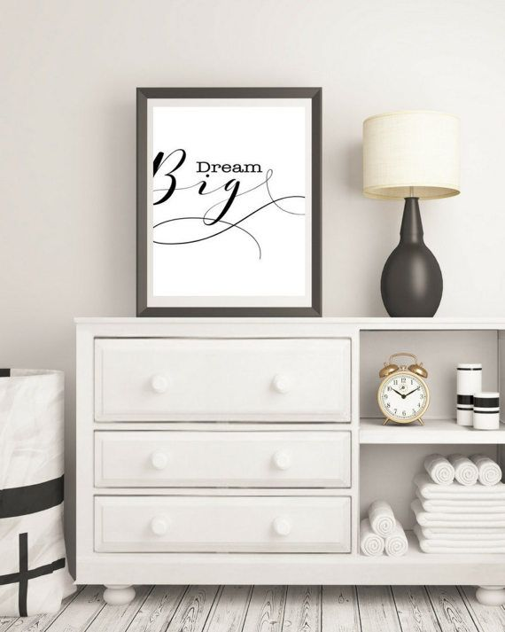 Dream Big Wall Art  Love  Motivational Print  by KarooveCrafts