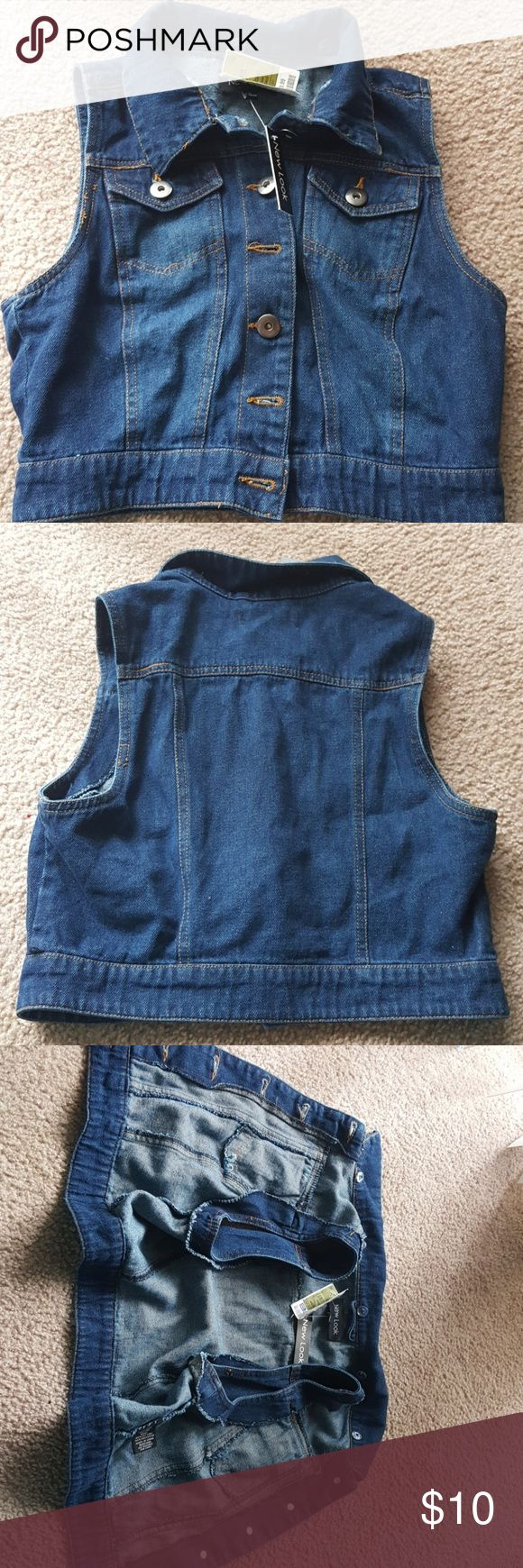 NWT! New Look Denim Jacket BTW! Denim sleeve less Jean jacket. Come get it, you can match it with a skirt. Never worn, clean. Comes from a [Smoke-free home & Dog free home] New Look Jackets & Coats Vests