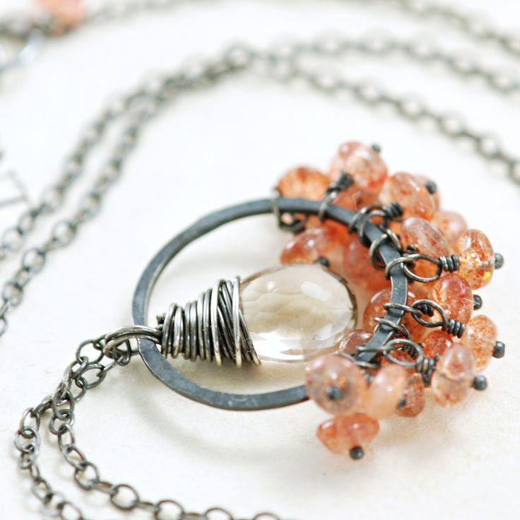 Sunstone e quarzo collana argento fatti a mano della pietra