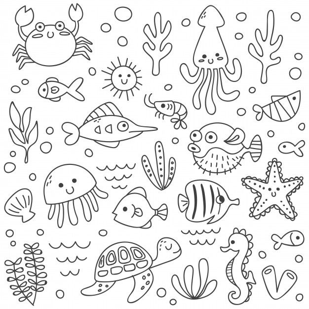 Set Of Cute Sea Animals In Doodle Style Cute Doodle Art Easy Doodle Art Animal Doodles