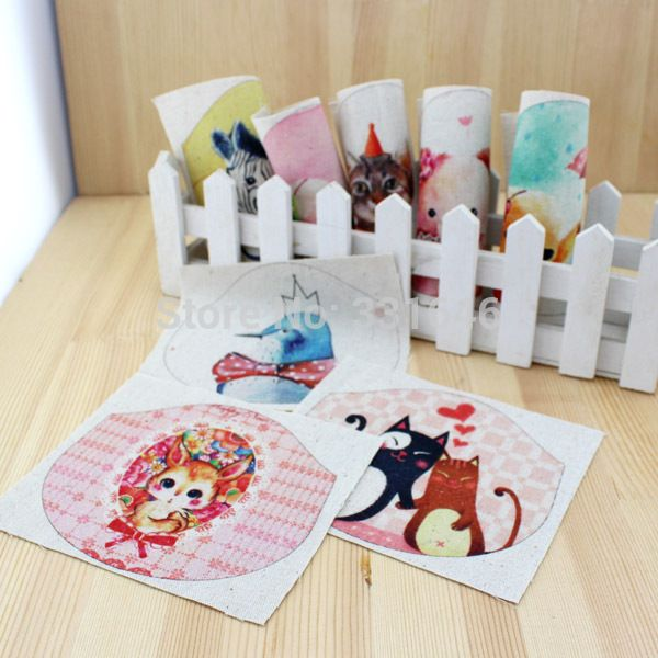 New Cute Animal 12*15cm Hand-Dyed Printed Cotton Linen Fabric for Diy Sewing Craft Patchwork Making Purse Metal Handle 8pcs/lot #Affiliate