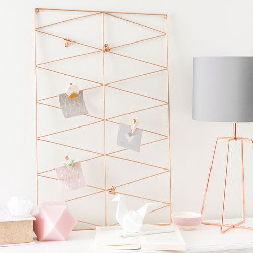 http://www.maisonsdumonde.com/UK/en/produits/fiche/crossy-copper-metal-lamp-with-grey-fabric-lampshade-h-49cm-157906.htm   Copper wire lamp with lamshade