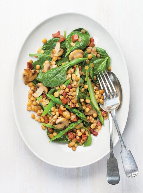 Salade d'épinards aux lentilles et aux asperges Recettes   Ricardo