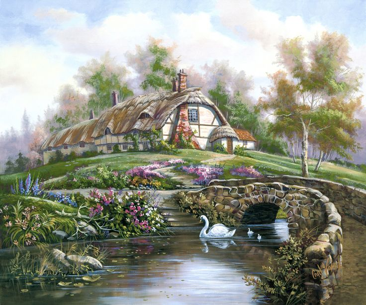 Brighting Sea Creek By Carl Valente English Country Cottage Stone Bridge Swan