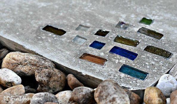 super easy diy modern geometric concrete stepping stones with bling, concrete masonry, crafts, diy, gardening, home decor