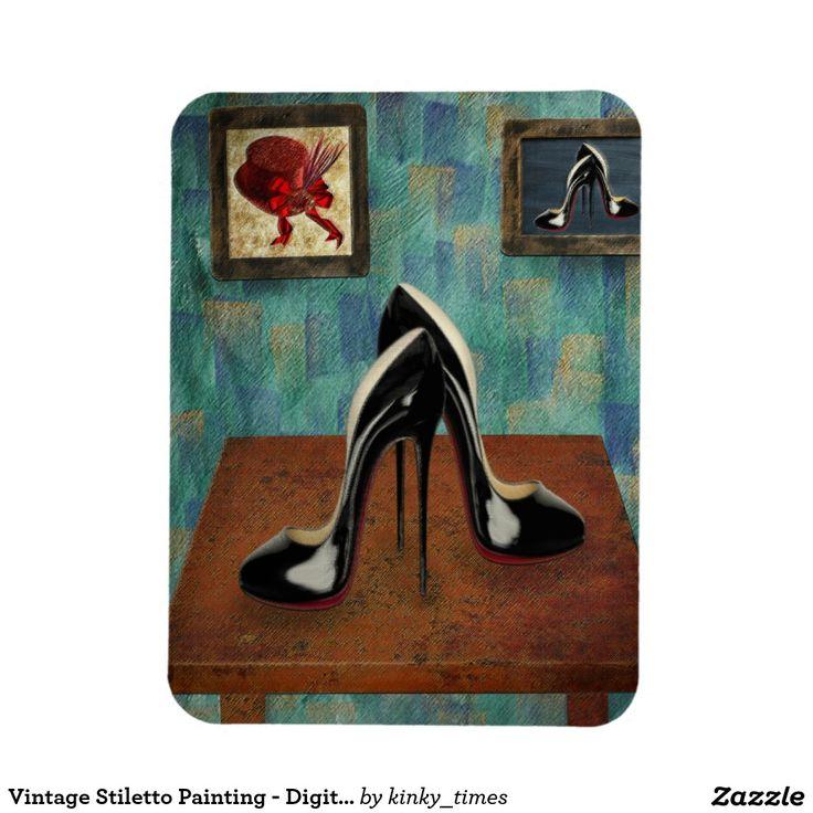 Vintage Stiletto Painting - Digital Art Rectangular Photo Magnet