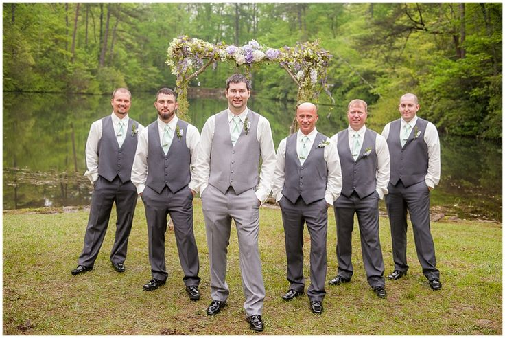 gray groomsmen attire // Photography: Southern Jewel Photography • Rentals: ABC Party Rentals • Venue: Paris Mountain State Park