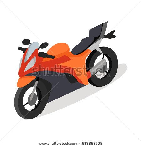 Sport bike isometric projection icon. Red speed motorcycle vector illustration isolated on white background. Race motorbike. For game environment, transport infographics, logo, web design - Shutterstock Premier