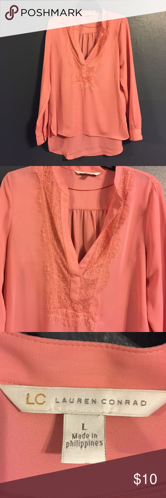 Lauren Conrad Blouse Coral Lauren Conrad blouse with lace trim. Excellent condition. LC Lauren Conrad Tops Blouses