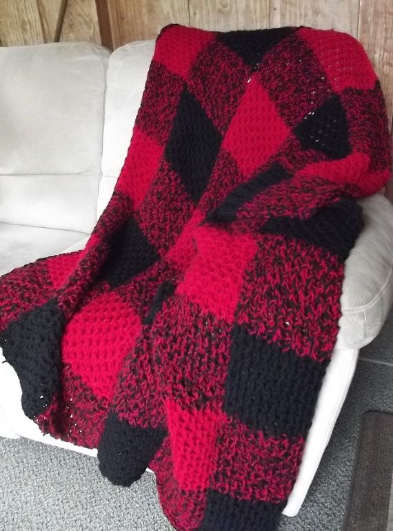 Hand-knit Buffalo Check Style Plaid Red by BoothValleyHomemades