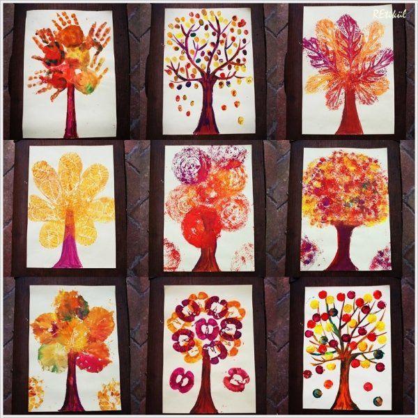 Varie tecniche con le tempere per colorare gli alberi. Cambiando i colori si possono fare gli alberi nelle varie stagioni. L'esperienza sarà diversa in base alla tecnica usata.