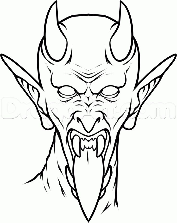 Line Drawing Face Tattoo : Black outline devil face tattoo stencil demon