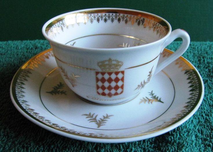 France Cup & Saucer GOUMOT LABESSE Limoges Emblem MONACO Gold very rare