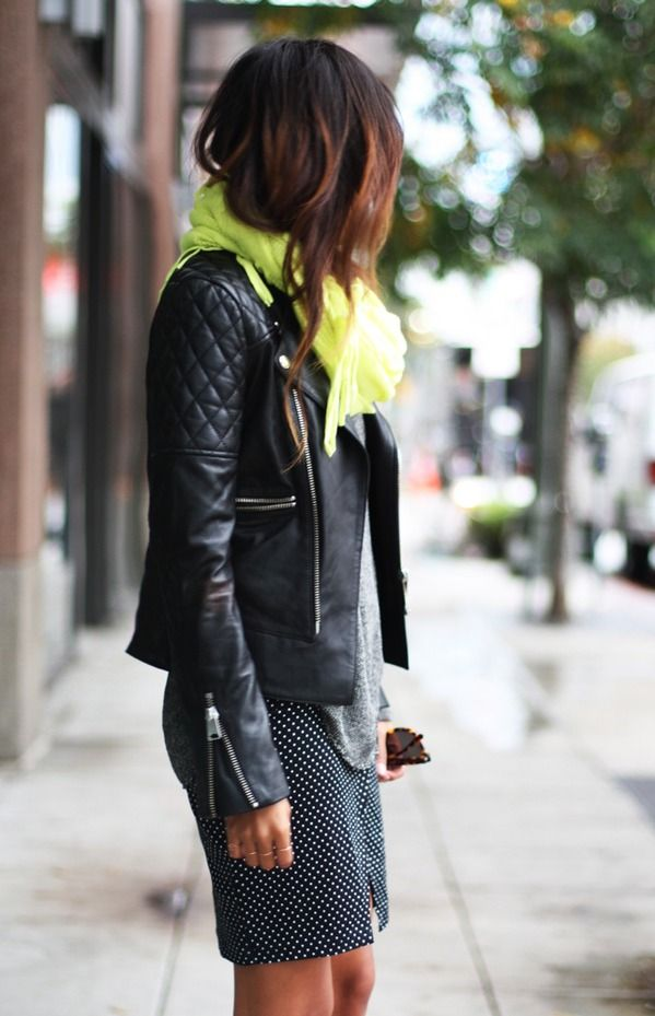 Leather jacket with a polka dot pencil skirt I'd find a faux leather replacement but its a sweet style