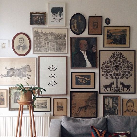 Wall art print gallery | fabulous eclectic and vintage retro looks on this amazing wall