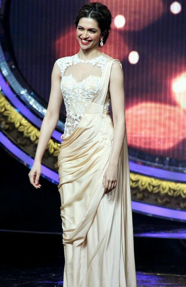 Deepika in a sari-gown.