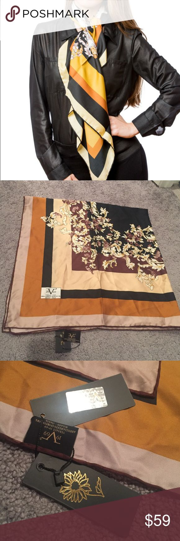 """Versace 1969 Abbigliamento Sportivo scarf Brand new with tags. Black and Yellow vine scarf by Versace. 100% polyester. 35.4"""" x 35.4"""" square scarf. Versace Accessories Scarves & Wraps"""