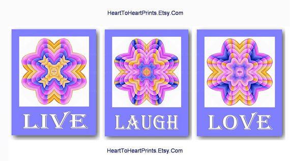 Live Love Laugh Pink Nursery Wall Art Lavender Girl Room Decor