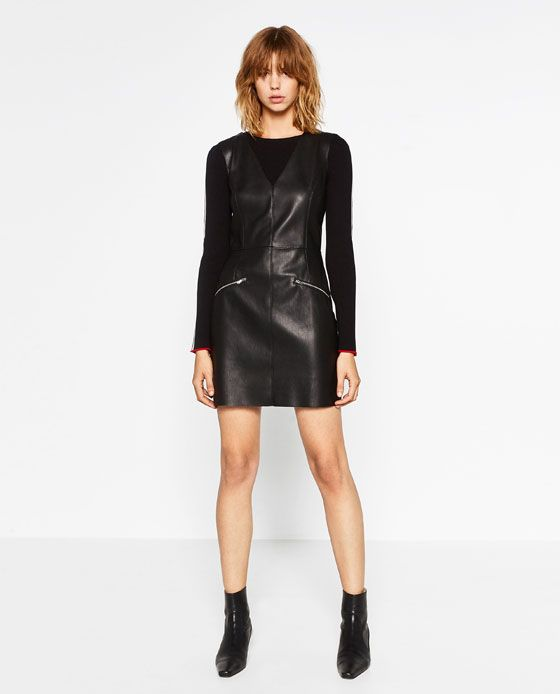 Image 1 of LEATHER EFFECT SHIFT DRESS from Zara