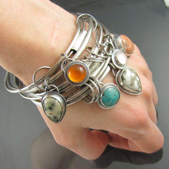 sterling silver ocean jasper amber gemstone by NRjewellerydesign