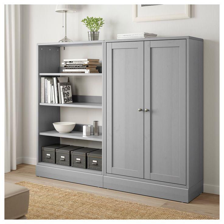 havsta storage combination  gray  ikea  tall cabinet