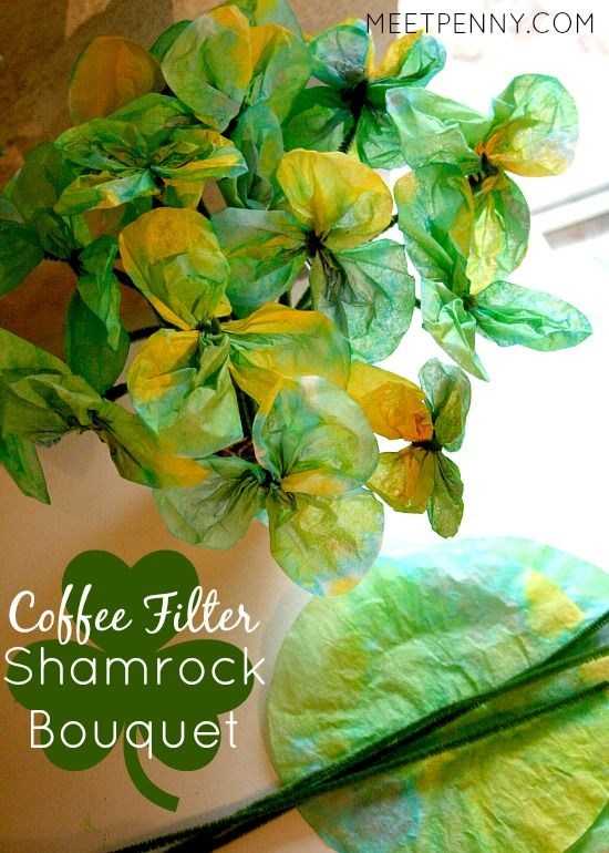 coffee filter shamrock bouquet
