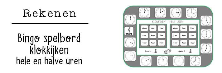 JufShanna: Bingo spelborden klokkijken (halve en hele uren)