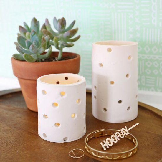 These clay votives are simple to make and add the perfect amount of ambiance to any room!