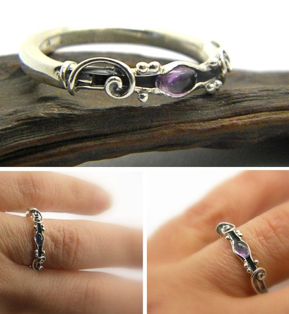 Amethyst ring sterling silver stone stacking ring handmade