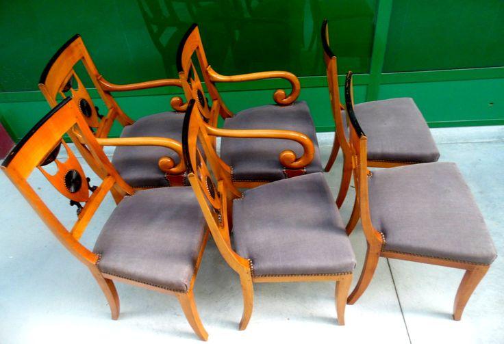 Salottino - 4 sedie e due poltrone stile Carlo X ebanisteria francese prima metà '900