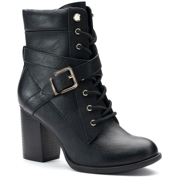 Apt. 9® Negotiate Women's High Heel Combat Boots (€51) ❤ liked on Polyvore featuring shoes, boots, oxford, short boots, laced up boots, high heel boots, ankle boots and lace up boots