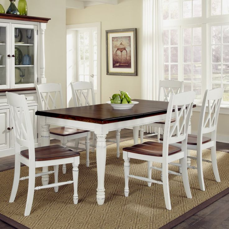 Home styles monarch 7 piece dining table set with 6 double x back chairs white oak kitchen dining table sets at hayneedle