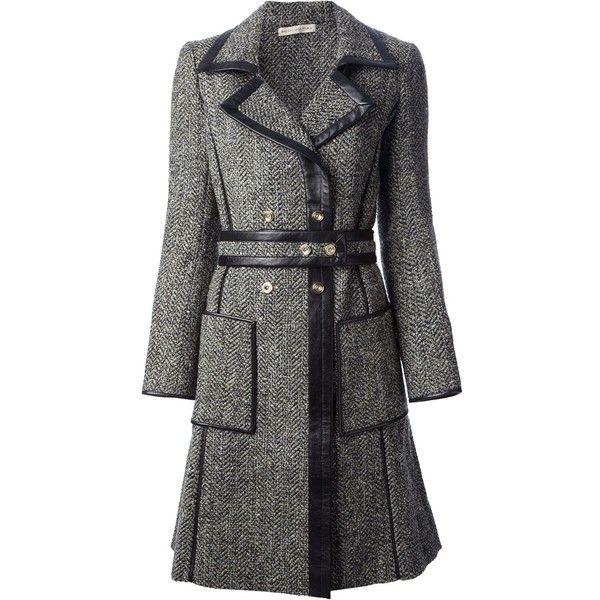Balenciaga Belted Tweed Coat ($2,444) ❤ liked on Polyvore featuring outerwear, coats, jackets, balenciaga, green, long sleeve coat, balenciaga coat, tweed wool coat and green coat