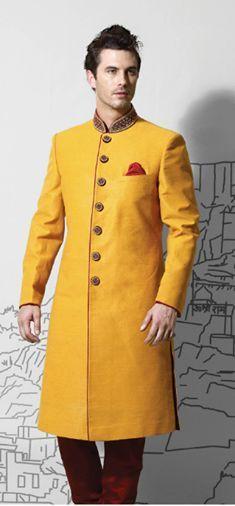 Dress your personality! #RampWalkthePheras with a mustard yellow sherwani