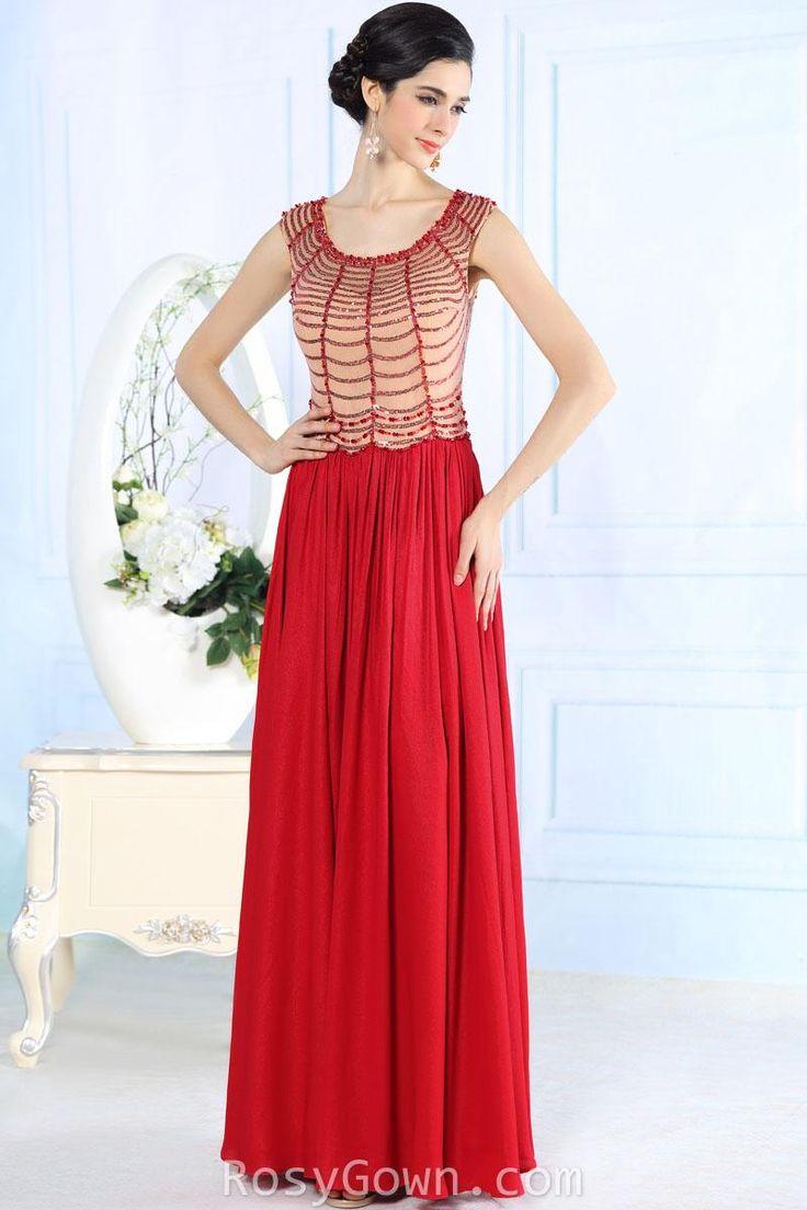beaded #sleeveless scoop neck floor length #red #prom formal #dress