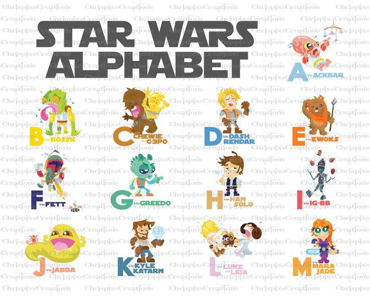 Star Wars Alphabet Baby Nursery Art Set Of 2 Prints 8