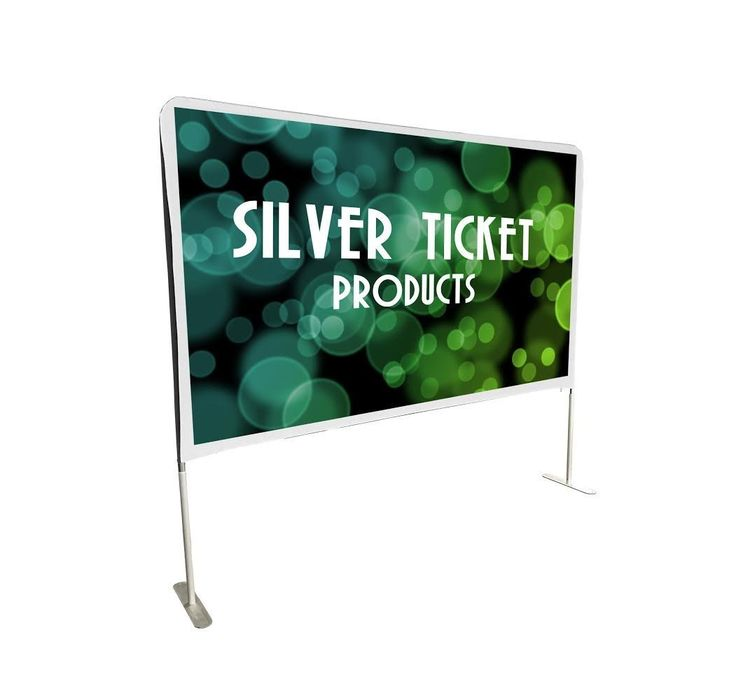"""STE-169150 Silver Ticket Entry Level 150"""" 16:9 Indoor / Outdoor Portable Backyard Movie Projector Screen White Cloth Material"""
