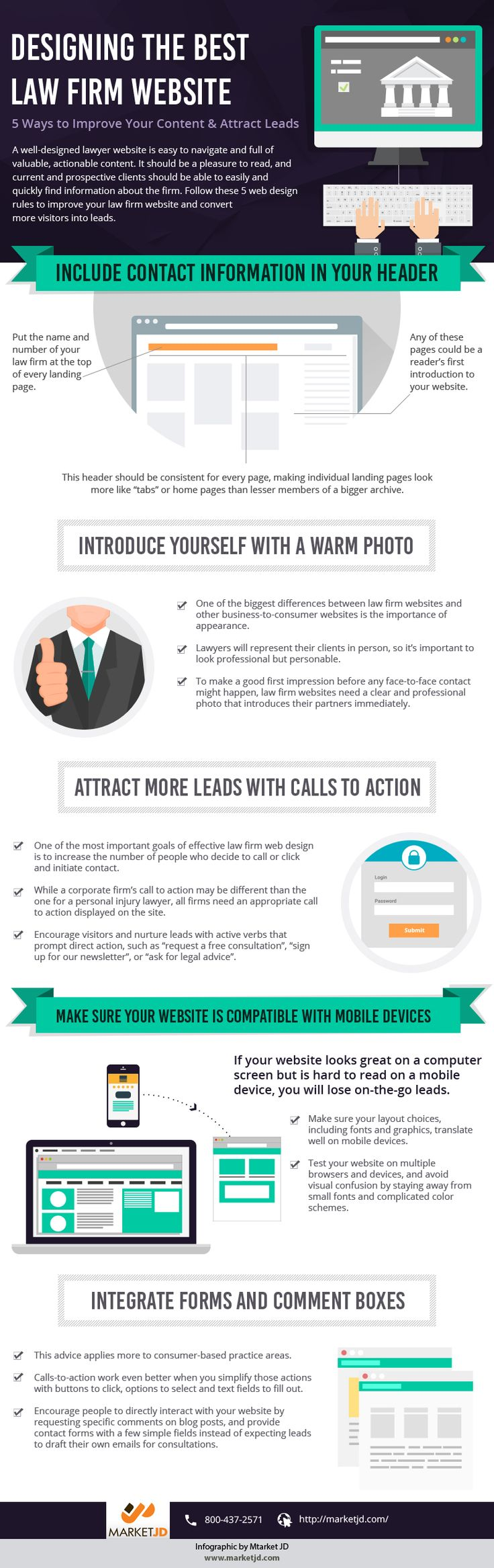 A well-designed lawyer website is easy to navigate and full of valuable, actionable content. It should be a pleasure to read, and current and prospective clients should be able to easily and quickly find information about the firm. Follow these 5 web design rules to improve your law firm website and convert more visitors into leads. For more details Visit: http://www.marketjd.com