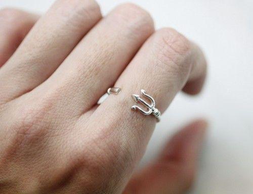 925 Sterling Silver Poseidon Trident Ring, Devil's Fork Trident Ring