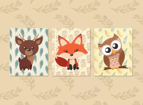 Nursery Wall Art Set of 3   Baby Animal Prints Baby от YouniART
