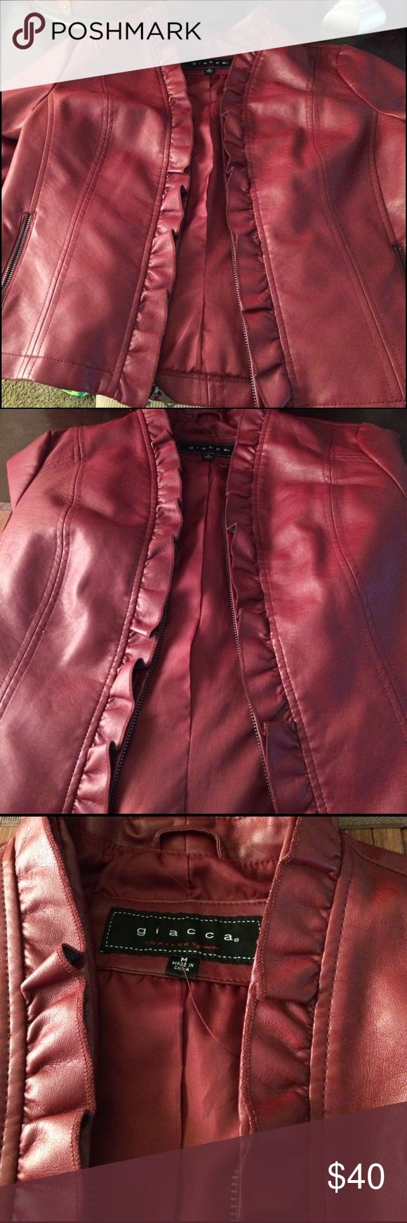 Leather Jacket for Sale Color is Maroon Pretty Leather Jacket for Sale Maroon Giacca Jackets & Coats